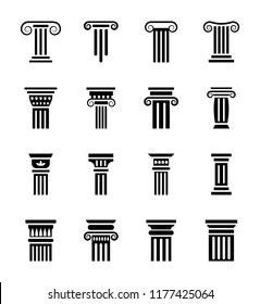 Pillar sketch icons set
