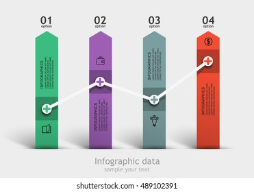 Pillars achieve business indicators. Vector infographic template. 4 steps to the data.