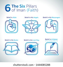 The pillars of Iman are those things that are believed in, in Islam. Iman  means faith. There are six (6) pillars of faith.