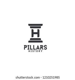 pillars letter h logo icon designs vector