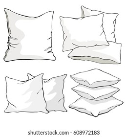 pillow cushion, pillow on white background- vector, illustration