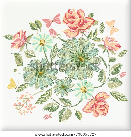Pillow Embroidery Design Daisy Roses Flowers Stock Vector Royalty