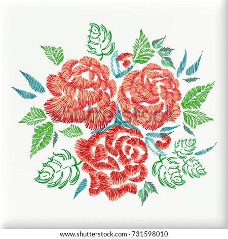 Pillow Embroidery Design Roses Flowers Floral Stock Vector Royalty