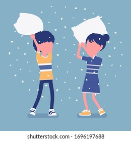 Pillow fight game, boy and girl kids enjoy free time at home. Sleepover fun, pajamas party, slumber entertainment for young children staying in house. Vector illustration, faceless character