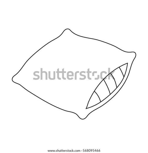 Pillow icon in outline style isolated on white background. Sleep and rest symbol stock vector illustration.