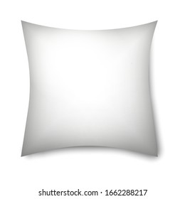 Pillow mockup icon isolated on white background. Vector illustration design for blank cushion case mockup icon. Pillowslip cover template. Clean empty pillow for relaxation, sleeping on bed sofa.