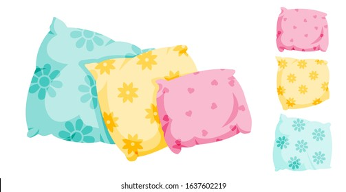 Pillow set with decorative pattern, flat cartoon style. interior textile. Pillows for sofa, three in a row, for bed, sleep. Сlassic feather, bamboo eco fabric. Isolated on white vector illustration