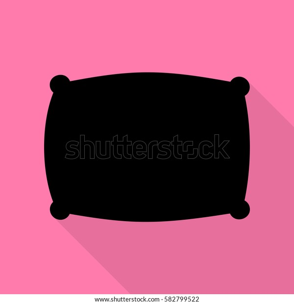 Pillow sign illustration. Black icon with flat style shadow path on pink background.