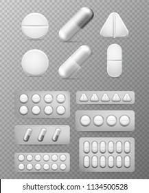 Pills 3d set. White tablet, drug treatment and pill. Medicine close-up vitamin capsules isolated healthy ill cure. Aspirin painkiller paracetamol drugs round medicament packing realistic vector sign