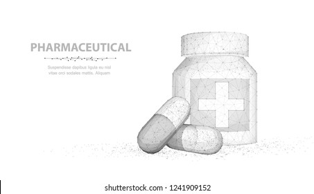Pills. Abstract 3d illustration two capsule pills near bottle isolated on white background. Medical pharmacy, health, vitamin, antibiotic pharmaceutical, treatment concept
