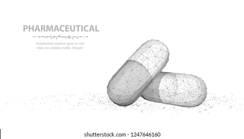 Pills. Abstract 3d illustration two capsule pills isolated on white background. Medical pharmacy, health, vitamin, antibiotic pharmaceutical, treatment concept