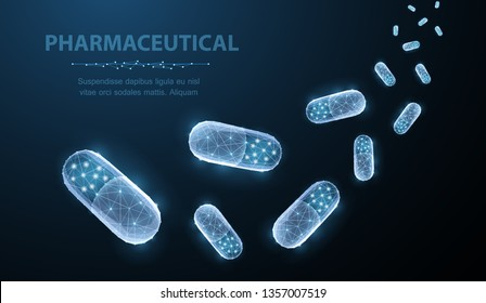 Pills. Abstract polygonal capsule pills falling on blue. Medical, pharmacy, health, vitamin, antibiotic, pharmaceutical, treatment concept illustration or background