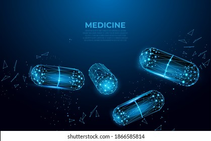Pills. Abstract polygonal wireframe capsule pills on blue background. Medical, pharmacy, health, vitamin, antibiotic, pharmaceutical, treatment concept illustration or background