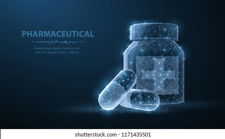 Pills. Abstract polygonal wireframe two capsule pills near bottle blue background. Medical, pharmacy, health, vitamin, antibiotic, pharmaceutical, treatment concept illustration or background