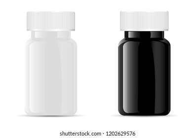 Pills bottle. Black and white medical glass or glossy plastic container for drugs, diet, nutritional supplements. Vector illustration isolated on white background.