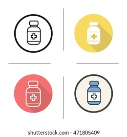 Pills bottle icon. Flat design, linear and color styles. Medication bottle. Isolated vector illustrations