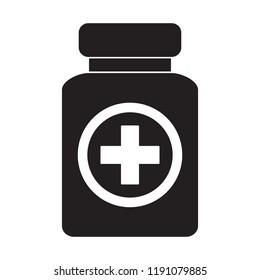 Pills bottle icon. Health Care Vector illustration