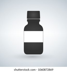 Pills bottle icon with space to write. Modern pill bottle for pills or capsules. Flat style vector illustration isolated on light background.