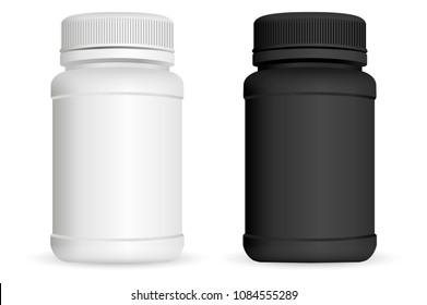 Pills bottles. White and black medical container for drugs, diet, nutritional supplements. Vector illustration isolated on white background.