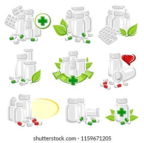 Pills and capsules elements set. Medical bottle collection. Vector