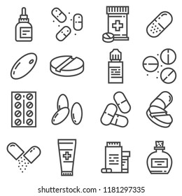 Pills and capsules icons set. Vector illustration. Pharmacy symbols. Eyedrops, Antidepressants, Pilule, Ointment and more
