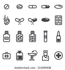 Pills and capsules icons set. Vector illustration. Pharmacy symbols and objects.