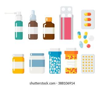 Pills capsules icons vector flat set. Medical vitamin pharmacy vector illustration.