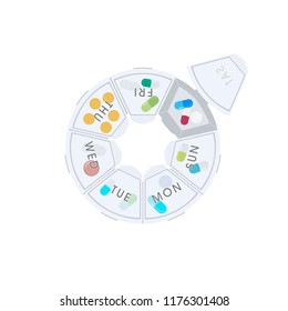 Pills and capsules in pill organizer. Medical Concept, Illustration of Pharmacy Bag with Pill Container or Pill Box Isolated on A White Background. Vector Illustration.