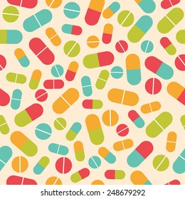 Pills collection. Medical pills and capsules seamless pattern. Colorful pharmacy background. Vector illustration