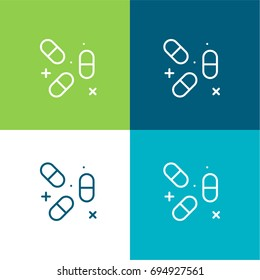Pills green and blue material color minimal icon or logo design