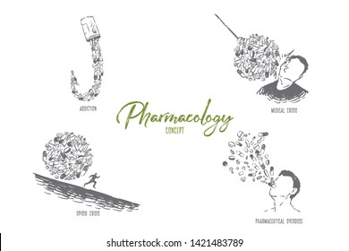 Pills in hook shape, patient hit by medicaments, man running from tablets, drug abuse, pharmacy banner. Addiction, overdose, medical and opioid crisis concept sketch. Hand drawn vector illustration