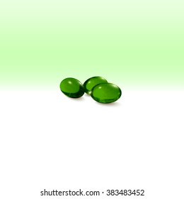 Pills isolated on green background, vector illustration.