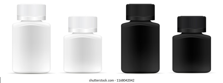 Pills jar. Different width White and black medical container for drugs, diet, nutritional supplements. Vector illustration of square bottle isolated on white background.