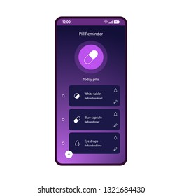 Pills, med reminder app smartphone interface vector template. Drugs list page screen purple design layout. Medication tracker mobile application. Flat gradient UI. Medical prescriptions phone display