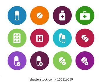Pills, medication circle icons on white background. Vector illustration.