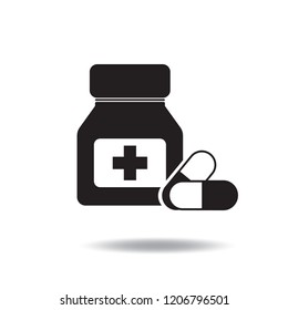 Pills and medicine bottle icon vector flat sign symbols logo illustration isolated on white background.Concept for medical and healthcare.