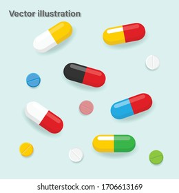 Pills and medicines different colors and shapes. Icons of pills,capsules. Vector illustration
