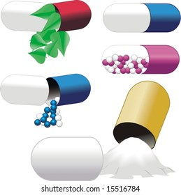 Pills over white with leaf and balls