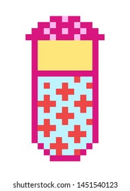Pills Pixel art 8 bit object. Pink fashion digital game. Pastel icons girly sticker. Vintage assets.