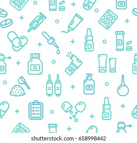 Pills Related Medical Pattern Background on a White for Business and Advertising. Vector illustration