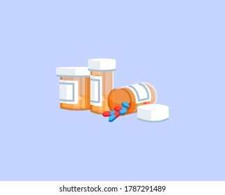Pills semi flat RGB color vector illustration. Painkillers addiction, opioids abuse, opiates dependency. Medical prescription, medical remedy isolated cartoon object on blue background