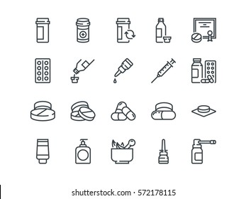 Pills. Set of outline vector icons. Includes such as Gel, Inhaler, Prescription, Syrup and other. Editable Stroke. 48x48 Pixel Perfect