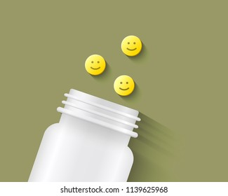Pills with smiling face on them next to a white pill bottle