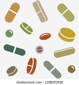 Pills or Supplements is an illustration of different type of pills or supplements laid out randomly and set up to be able to be used as a seamless repeatable pattern.