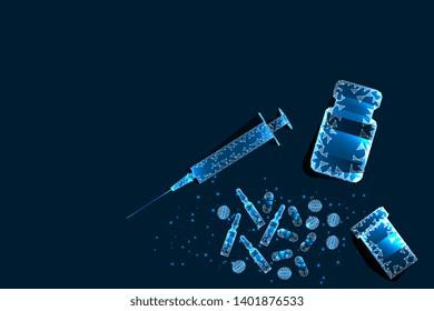 Pills, syringe. Abstract polygonal pill frame near bottle and syringe on blue background. Medical, pharmacy, health, vitamin, antibiotic, pharmaceutical, illustration. Vector.