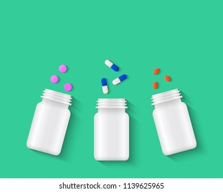 Pills, tablets and capsules with white pill bottles on green background. Assorted pharmaceutical medicine concept. Realistic vector illustration.