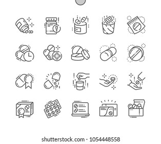 Pills Well-crafted Pixel Perfect Vector Thin Line Icons 30 2x Grid for Web Graphics and Apps. Simple Minimal Pictogram