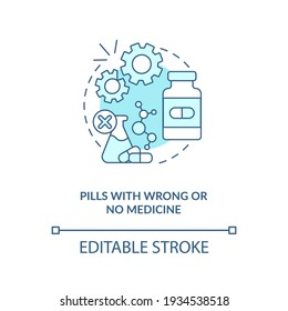 Pills with wrong or no medicine concept icon. Buying drugs. Online pharmacy idea thin line illustration. Unregistered pharmacies threats. Vector isolated outline RGB color drawing. Editable stroke