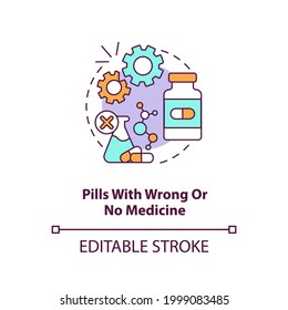 Pills with wrong or no medicine concept icon. Online pharmacy idea thin line illustration. Unregistered pharmacies threats. Vector isolated outline RGB color drawing. Editable stroke