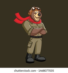 pilot aviator bear mascot character designs